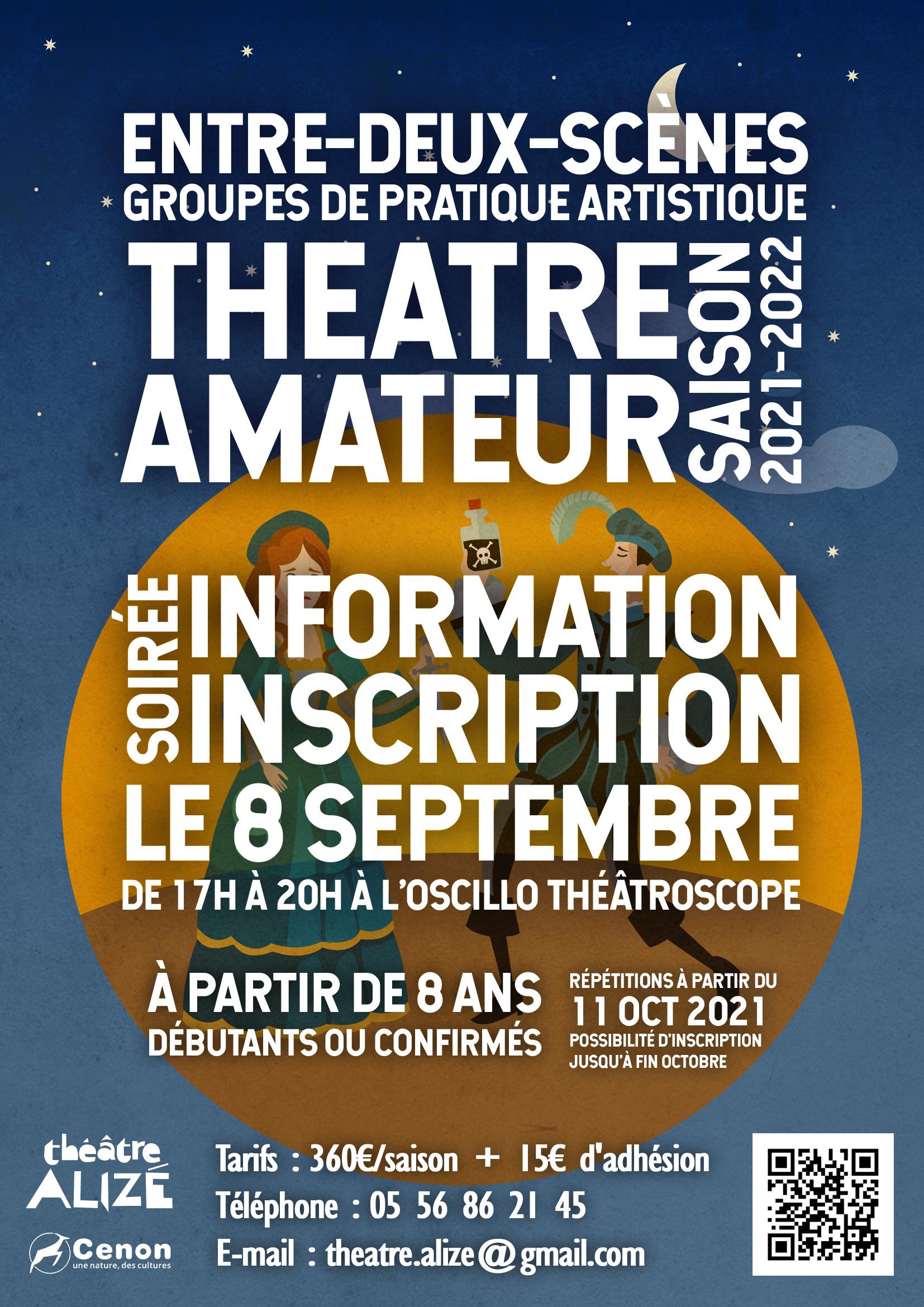 Inscription théâtre amateur saison 2021-2022